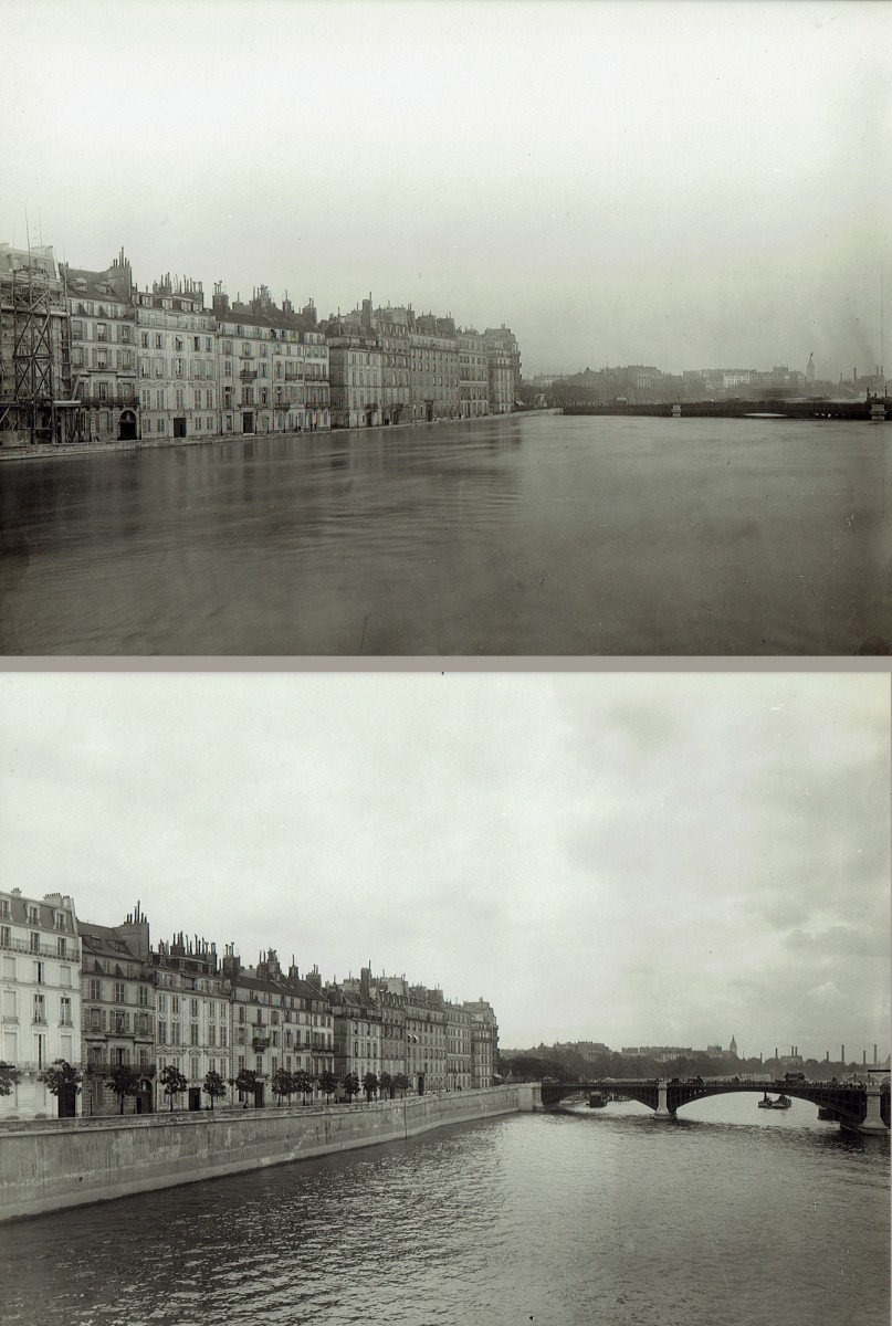Paris Flood, Pont de Sully & Quai de Bethune, Jan. 27-31, 1910  & six months later