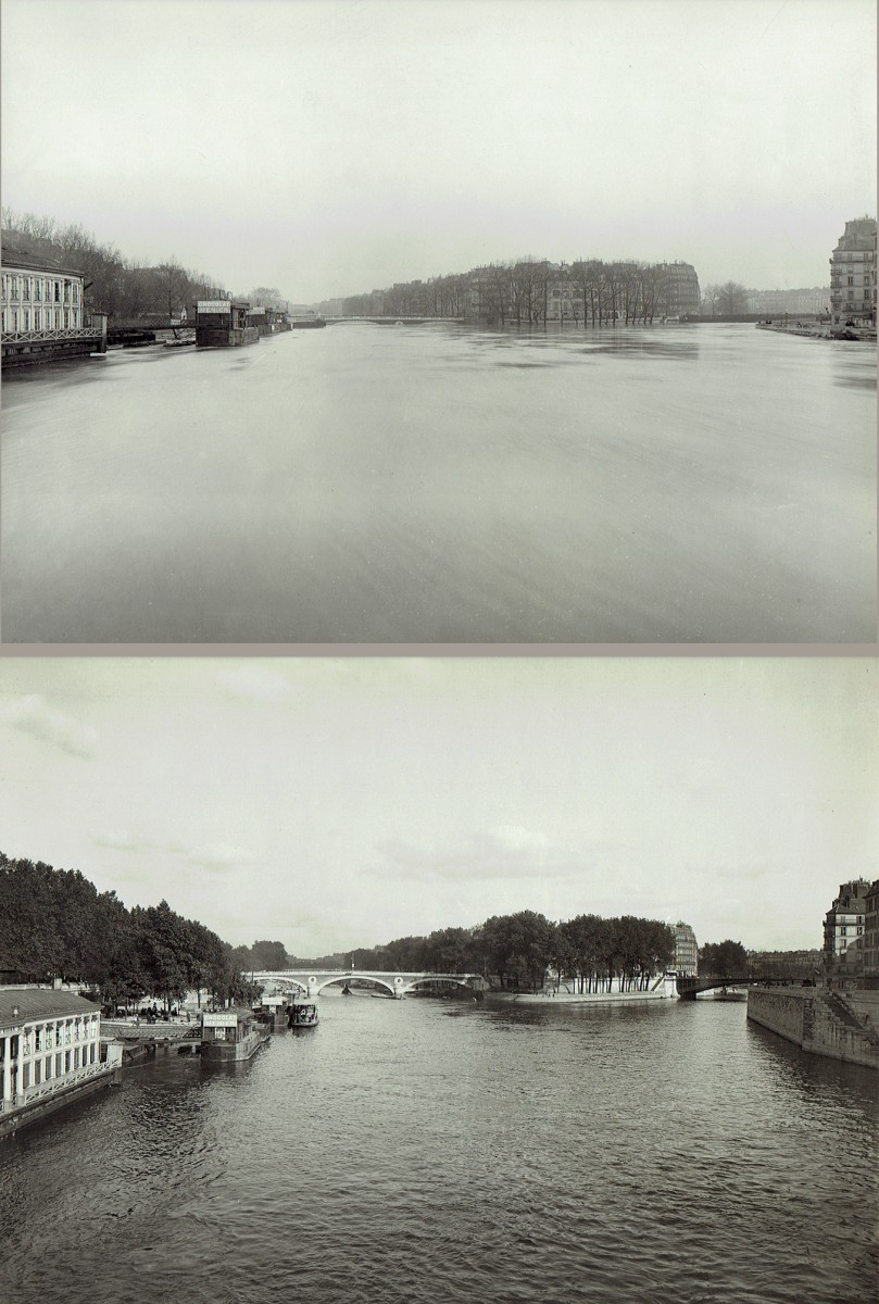 Paris Flood, Ile St. Louis with Pont St. Louis and Pont Louis Philippe, Jan. 27-31, 1910 & six months later