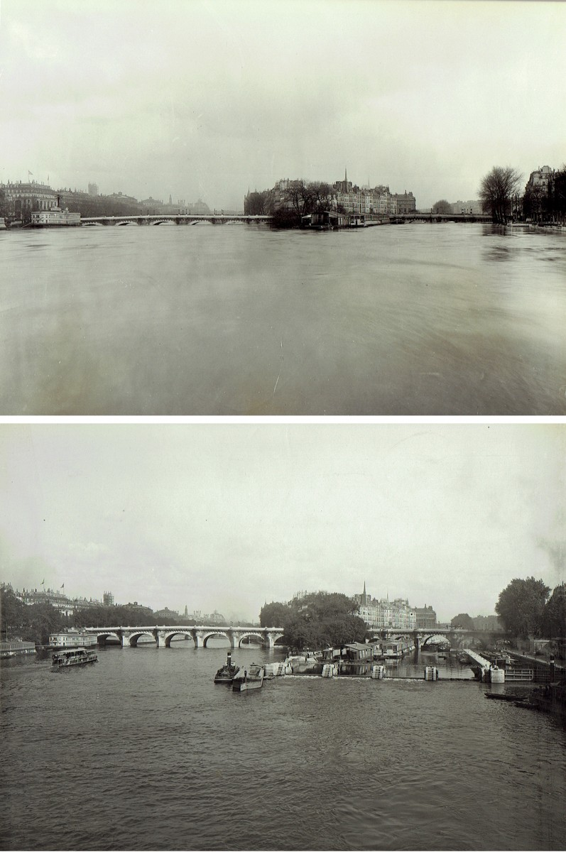 Paris Flood, Looking east to the Pont Neuf, Jan. 27-31, 1910 & six months later