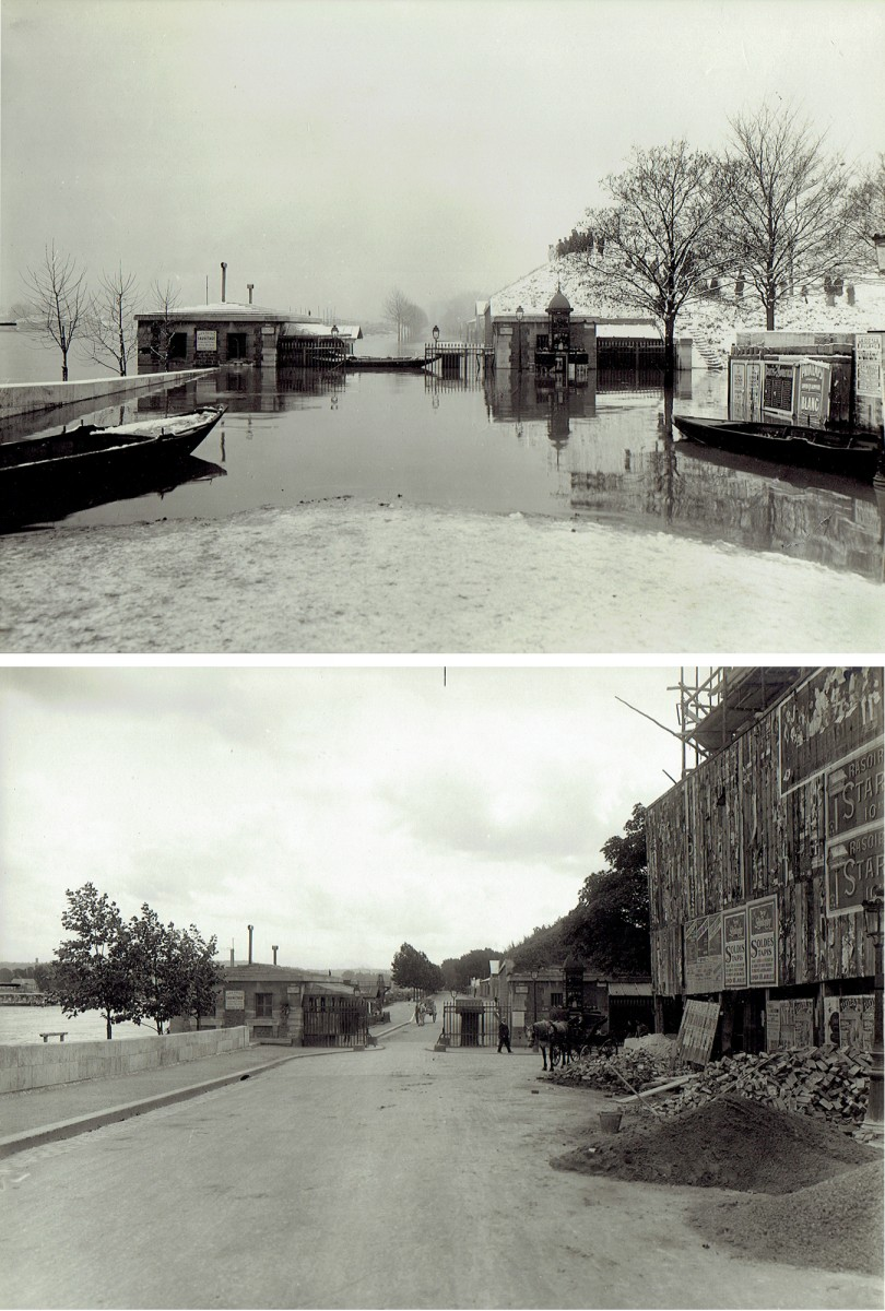 Paris Flood, Quai scene, Jan. 27-31, 1910 & six months later