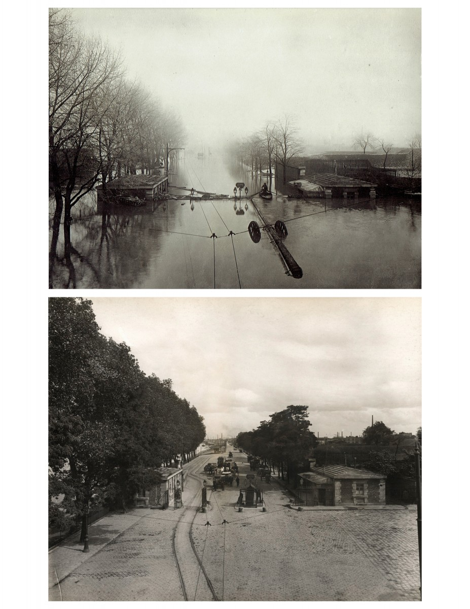 Paris Flood, (Gateway to docks), Jan. 27-30, 1910 & six months later