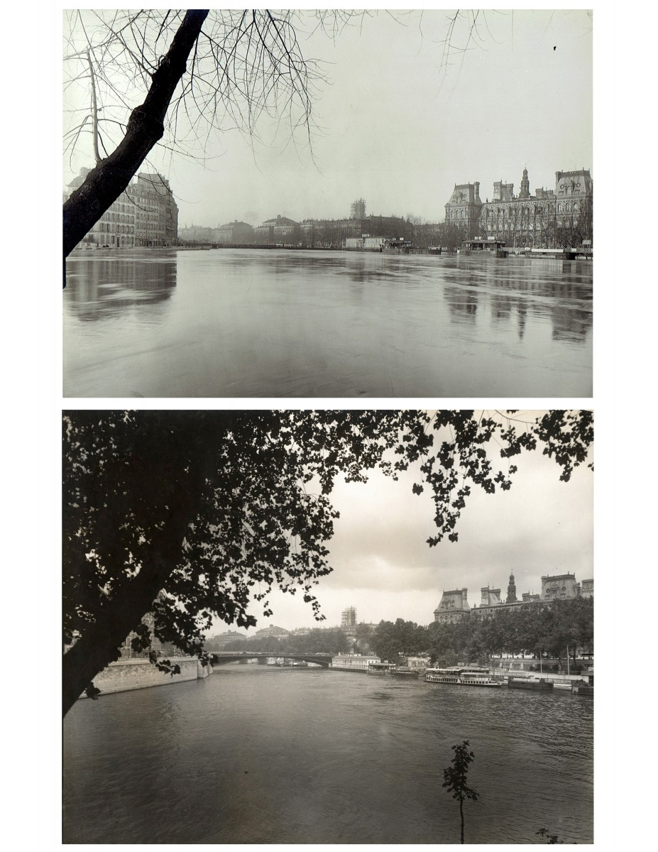 Paris Flood, Pont d'Arcole & Hotel de Ville, Jan. 27-31, 1910 & six months later