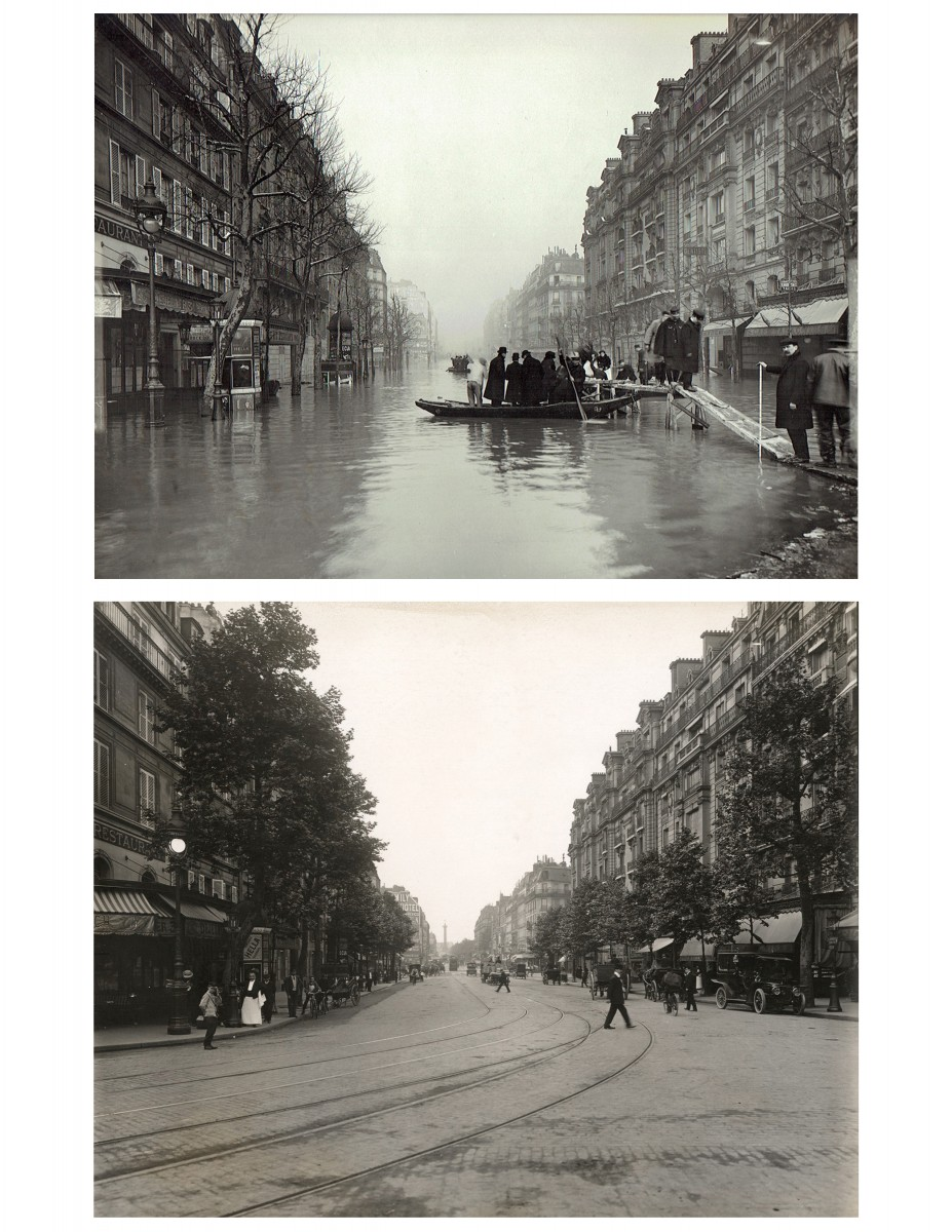 Paris Flood, Rue de Lyon, Jan. 27, 1910 & six months later